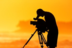 silhouette of videographer