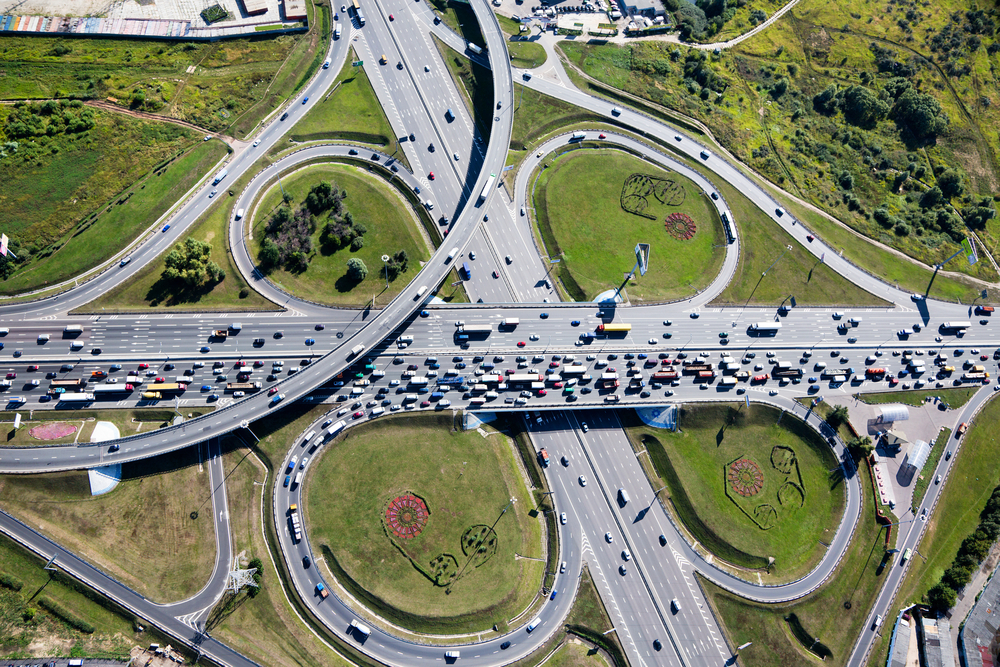 Aerial Photograph Of Dallas Traffic Taken With A Drone Equipped Camera